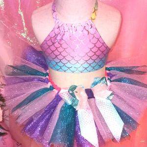 Custom made mermaid tutu set.   1st birthday cake
